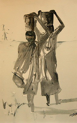 Ndebele women carrying water