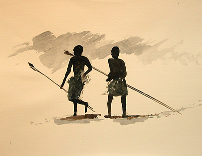 Ndebele men with spears